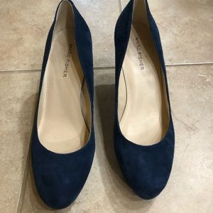 Marc Fisher, blue suede, platform heel